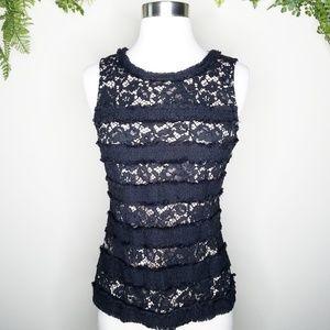 J. Crew lace panel sleeveless top black